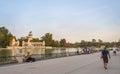 People walking in Buen Retiro park lake, Madrid Royalty Free Stock Photo