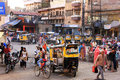 People walking on busy street at Sadar Market, Jodhpur, India Stock Images