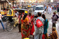 People walking on busy street at Sadar Market, Jodhpur, India Royalty Free Stock Photography