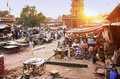 People walking on busy street at Sadar Market, Jodhpur, India Royalty Free Stock Photos