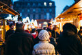 People walking at the Christmas Market  defocused view Royalty Free Stock Photo