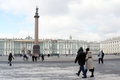 People walking dvortsovaya square towards hermitage museum historical city center saint petersburg russia unesco world heritage Royalty Free Stock Photos