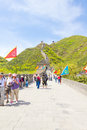People walking on the great wall of china place is one greatest wonders world with approximately km and more than years Stock Photo