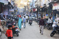 People walking on narrow street of old town bundi india rajasthan Royalty Free Stock Photos