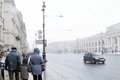 People walking on the nevsky prospect at snowstorm historical city center of saint petersburg russia taken on march in saint Stock Photo