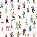 People walking seamless pattern. Women men children group person walk city crowd family park outdoor activity