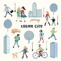 People Walking on the Street. Urban City Architecture. Characters Set with Family, Children, Runner and Bicycle Rider