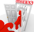 People walking through success doorway achieve goals a line of step a marked and are changed to a new color symbolizing that they Royalty Free Stock Image