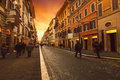 People walking on wall street with european building style in rome italy most popular traveling destination Royalty Free Stock Photo