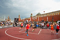 People watch basketball game moscow may during dudu streetbasket fest on red square may moscow russia dudu streetbasket fest takes Royalty Free Stock Images