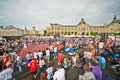 People watch basketball game moscow may during dudu streetbasket fest on red square may moscow russia streetbasket fest takes Stock Images