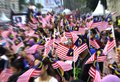 People waving malaysian flags image of Stock Images
