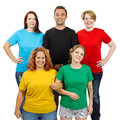 stock image of  People wearing different colored blank shirts