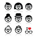 People wearing glasses geeks icons set vector of in of different ages Stock Image