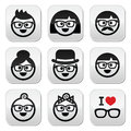 People wearing glasses geeks icons set vector of in of different ages Stock Photography