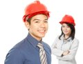 People Wearing Hardhats Stock Photography
