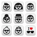 People wearing sunglasses holidays icons set vector of during summer or on Royalty Free Stock Photography