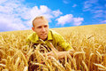 People in wheat field Stock Photos
