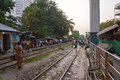 People witing in train station in bangkok thailand january waiting land line near sukhumvit road close to phloen chit bts Royalty Free Stock Photo