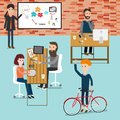 People working in the co working space infographics elements ill illustration eps Royalty Free Stock Photography