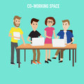 People working in the co working space infographics elements illustrator eps Stock Photo