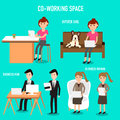 People working in the co working space infographics elements illustrator eps hipster women with french bulldog business man and Royalty Free Stock Photography