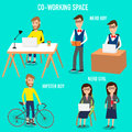 People working in the co working space infographics elements illustrator eps nerd boy and girl and hipster man Stock Photography