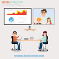 People working in the co working space meeting with presentation and video conference infographics elements Stock Photos