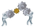 People working cogs an illustration of two silver or gears Royalty Free Stock Photos