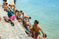 People worshiping bathing in Ganges Royalty Free Stock Photo