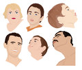 Peoples faces a set of six of children and adults vector illustration Stock Image