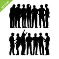 Peoples group silhouettes vector Royalty Free Stock Photo