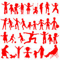 Peoples red silhouettes isolated on white Royalty Free Stock Photo
