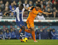 Pepe lima of real madrid vies with jhon cordoba rcd espanyol during the spanish league match at the estadi cornella on january Stock Photos