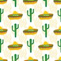 Seamless vector pattern with mexican festive symbols silhouettes: cactus, sombrero