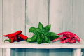 Pepper and basil photo of green haricot cayenne Royalty Free Stock Images
