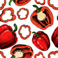 Pepper hand drawn vector seamless pattern. Vegetable red artistic style object, full, half and slices Royalty Free Stock Photo