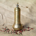 Pepper mill metallic with colored peppercorns Stock Photos