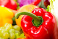 Pepper red glossy close up photo fresh vegetables Stock Photography