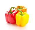 Pepper three different peppers isolated over white fresh vegetables Royalty Free Stock Photos