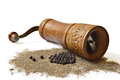 Peppercorn grinder and grounded pepper isolated on white background Stock Photography