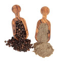 Peppercorns and Pepper Powder Royalty Free Stock Photo