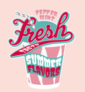Peppermint milkshake cup vector artwork for girl t shirt in custom colors Stock Photography