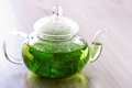Peppermint tea on a table Royalty Free Stock Photo