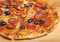 Pepperoni Pizza with Olives Royalty Free Stock Photo