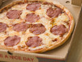 Pepperoni Pizza in a Take Away Box Royalty Free Stock Photos