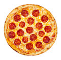 Pepperoni pizza thinly sliced is a popular topping in american style pizzerias Stock Images