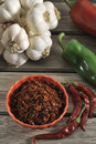 Peppers and dried garlics Stock Images