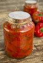 Peppers pickled jar of in vinegar with sugar Royalty Free Stock Photos