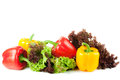 Peppers with salad mixed on white Stock Photography